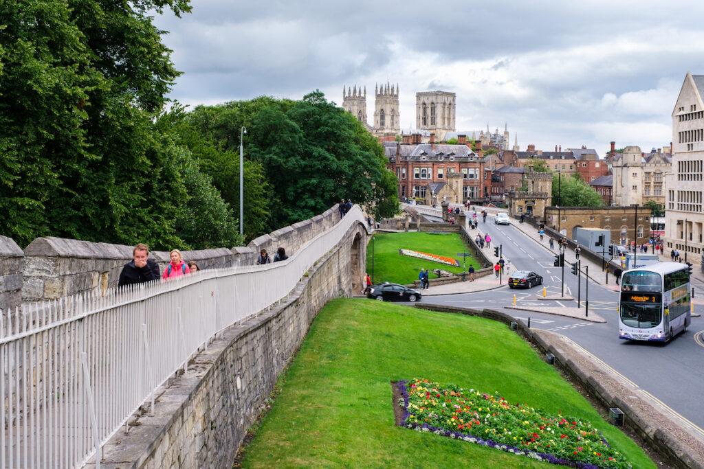 The Medieval Wall surrounding York, England.