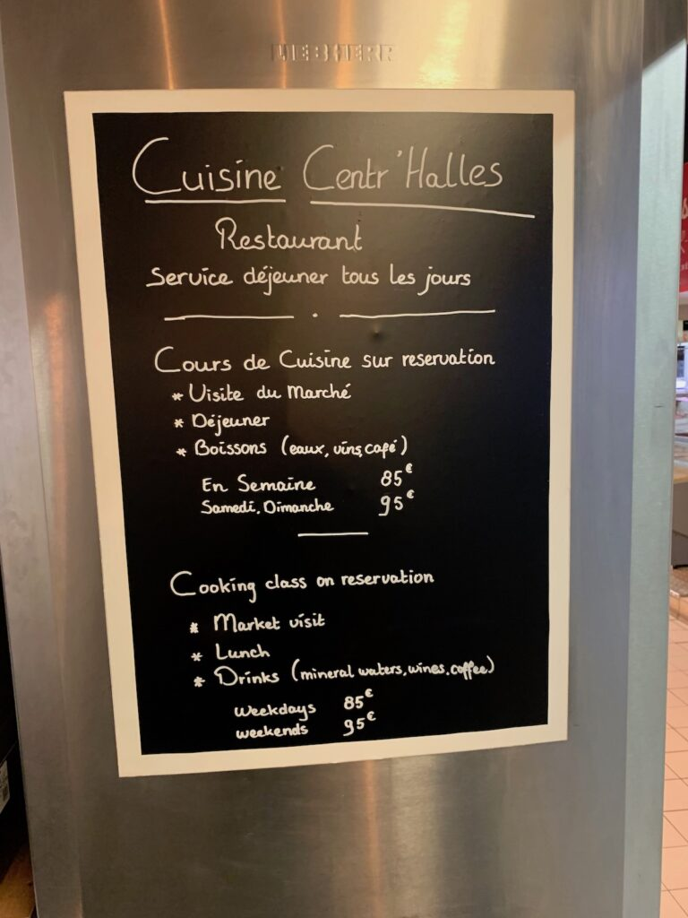 The menu at Cuisine Centr'Halles.