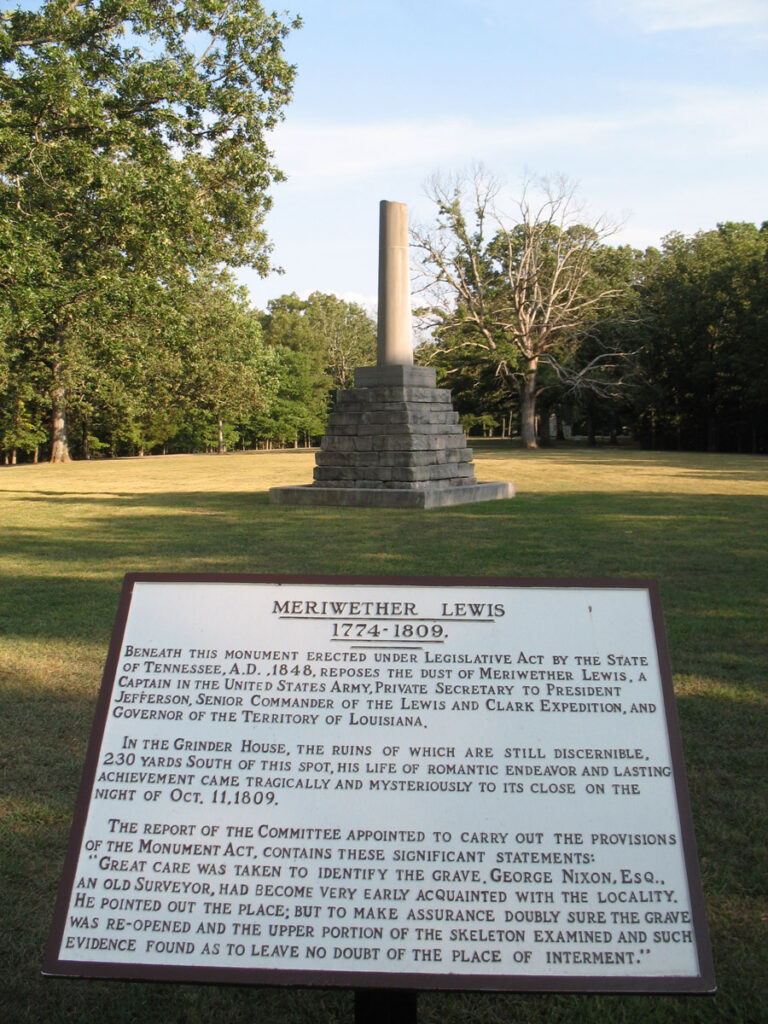 The Meriweather Lewis Monument in Hohenwold, Tennessee.