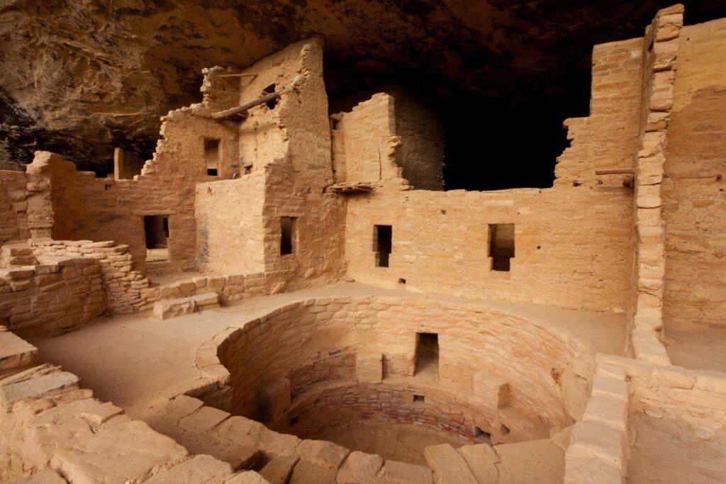 The Mesa Verde cliff dwellings.
