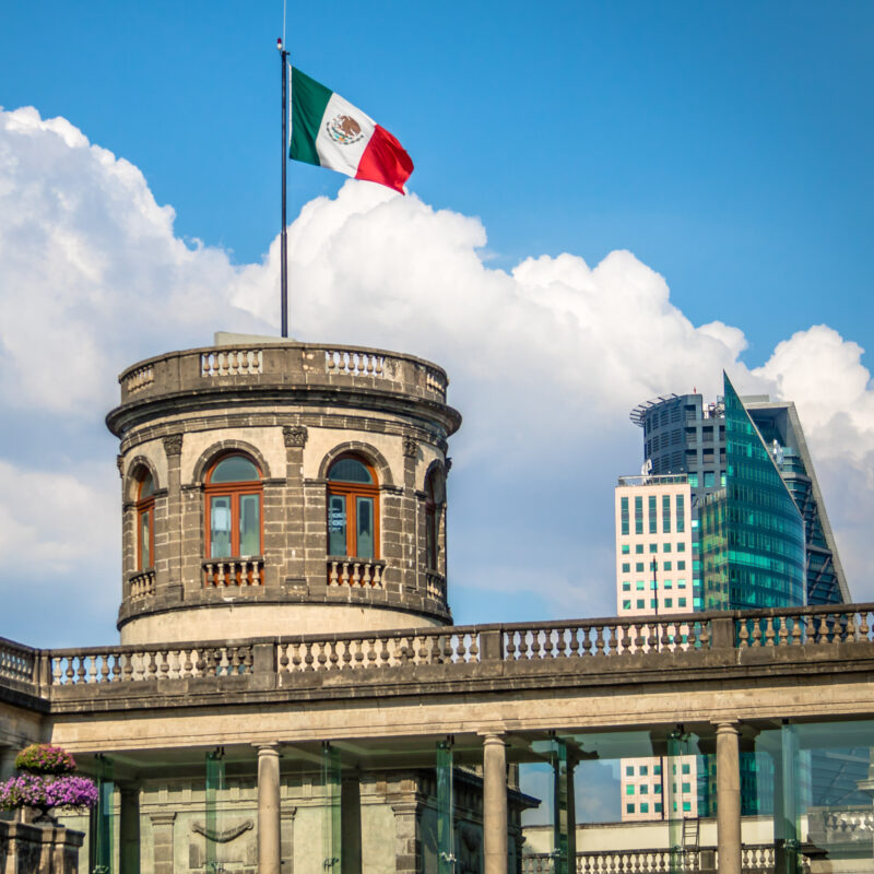 The Mexican flag over Chapultepec Castle.