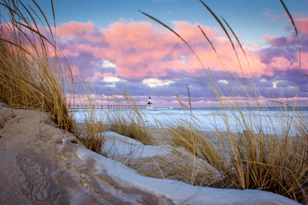 The Michigan City Lighthouse from the shores of Lake Michigan.