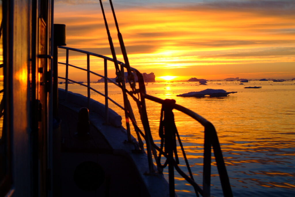 The midnight sun from a cruise in Greenland.