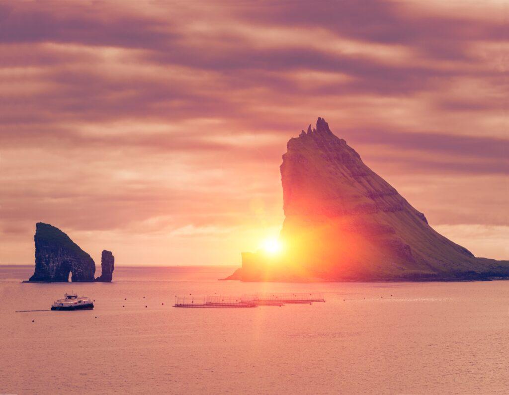The midnight sun in the Faroe Islands, Denmark.