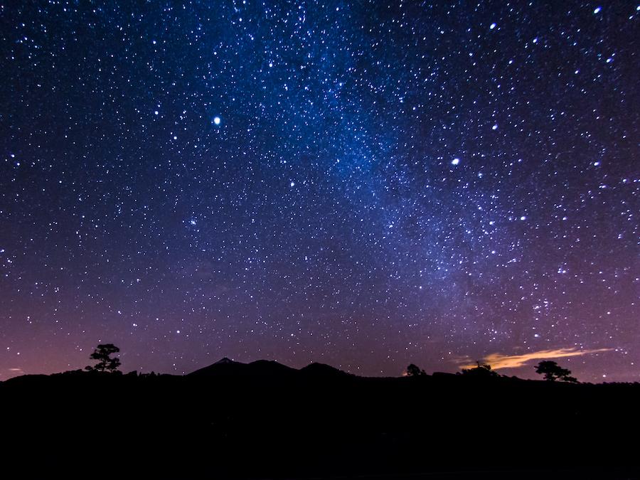 The Milky Way above the volcano Pico de Teid in Tenerife.