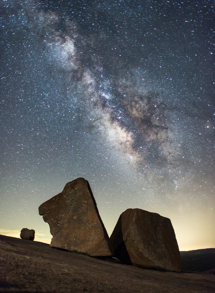 The Milky Way over Enchanted Rock State Natural Area in Texas.