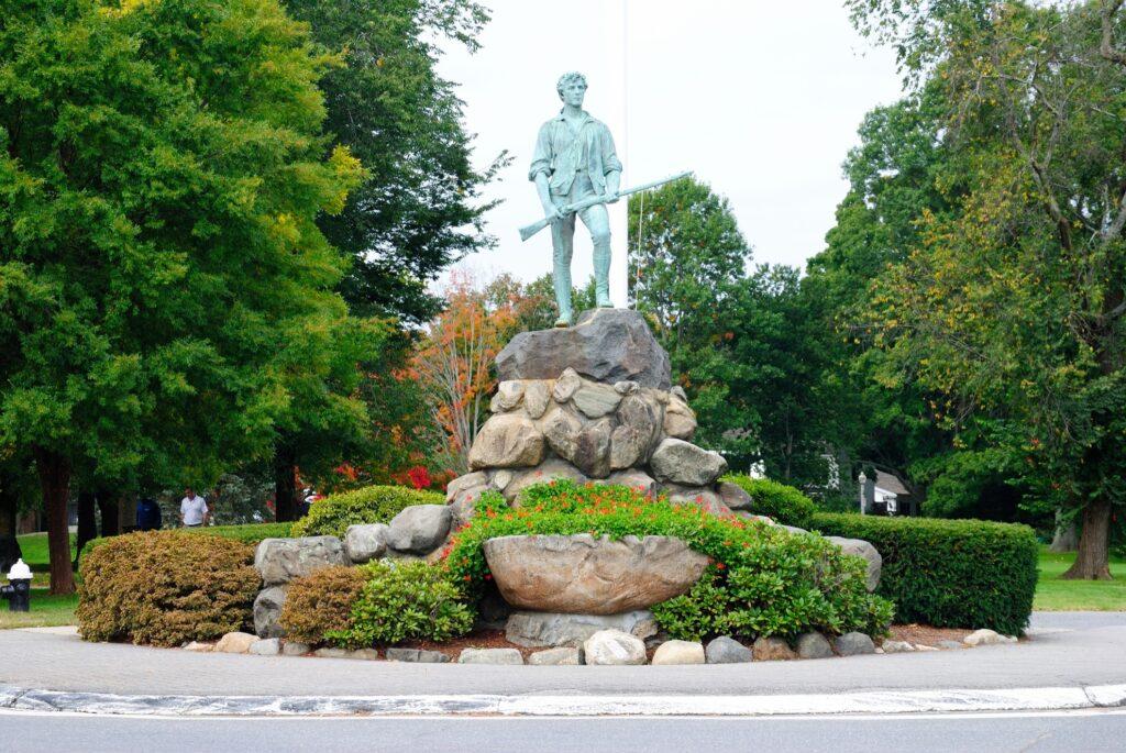 The Minute Man Statue in Lexington.