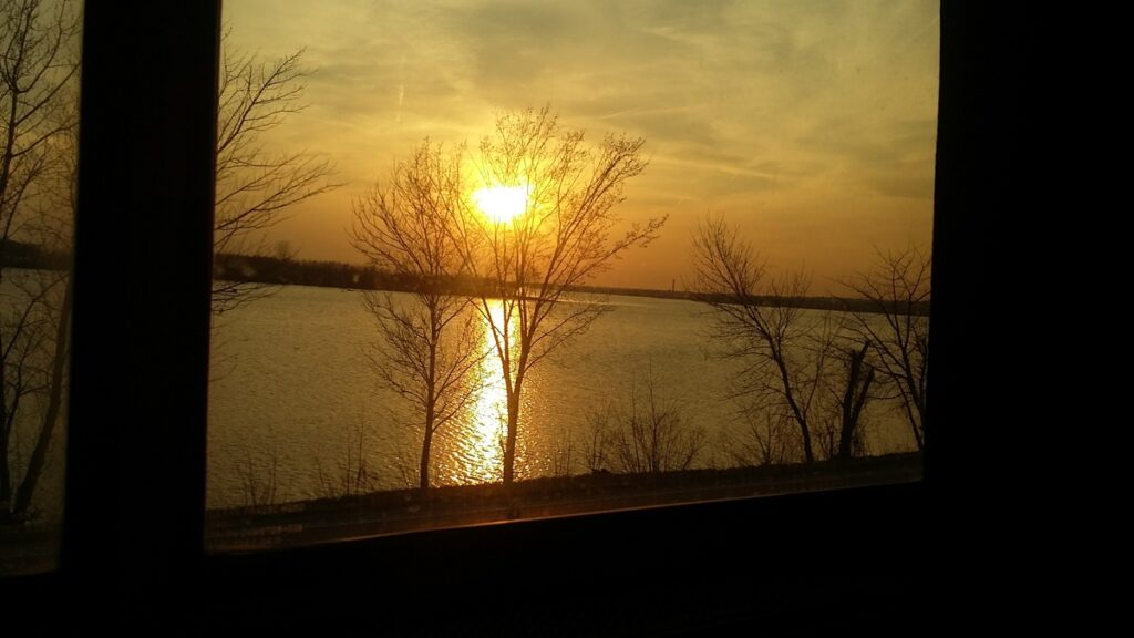 The Mississippi River from a train.