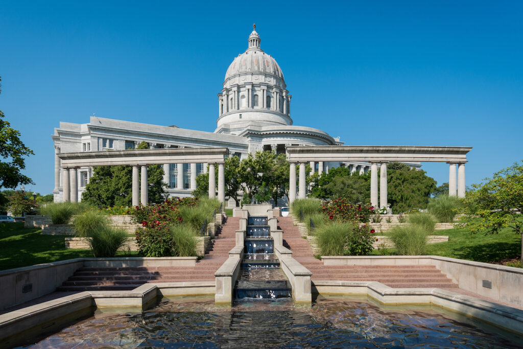 The Missouri state capitol building in Jefferson City.