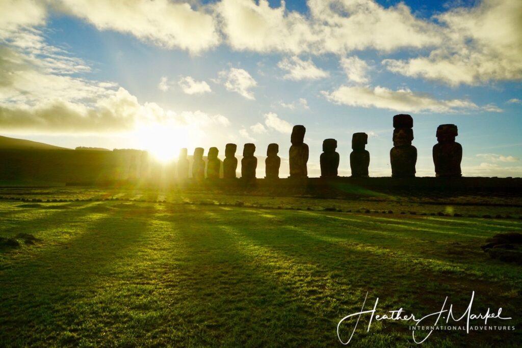The Moai on Easter Island.