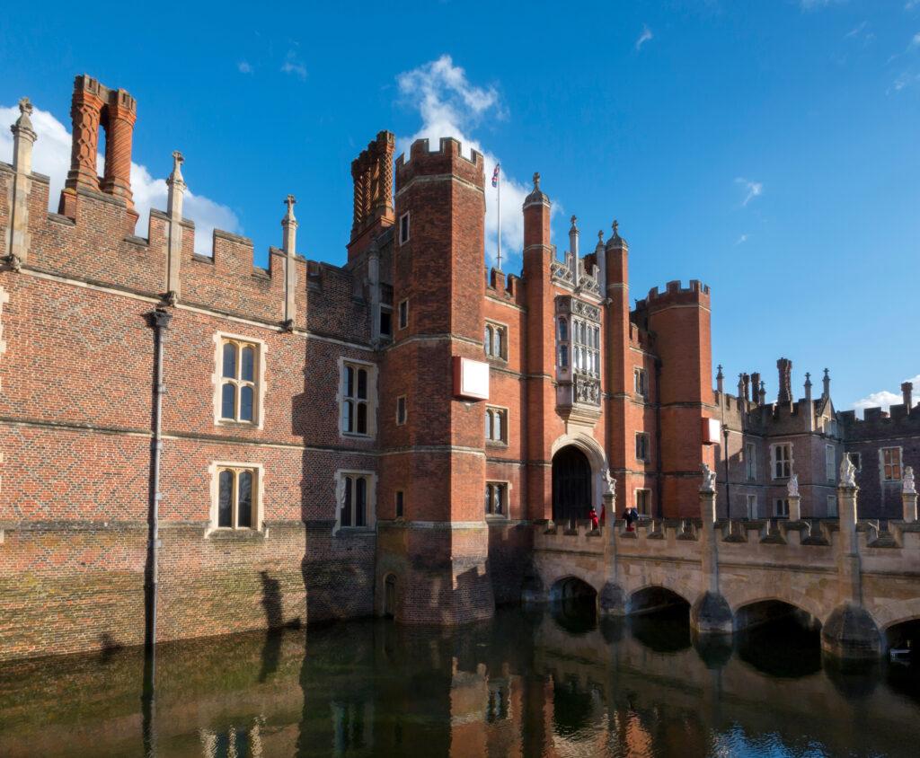 The moat bridge at Hampton Court Palace.