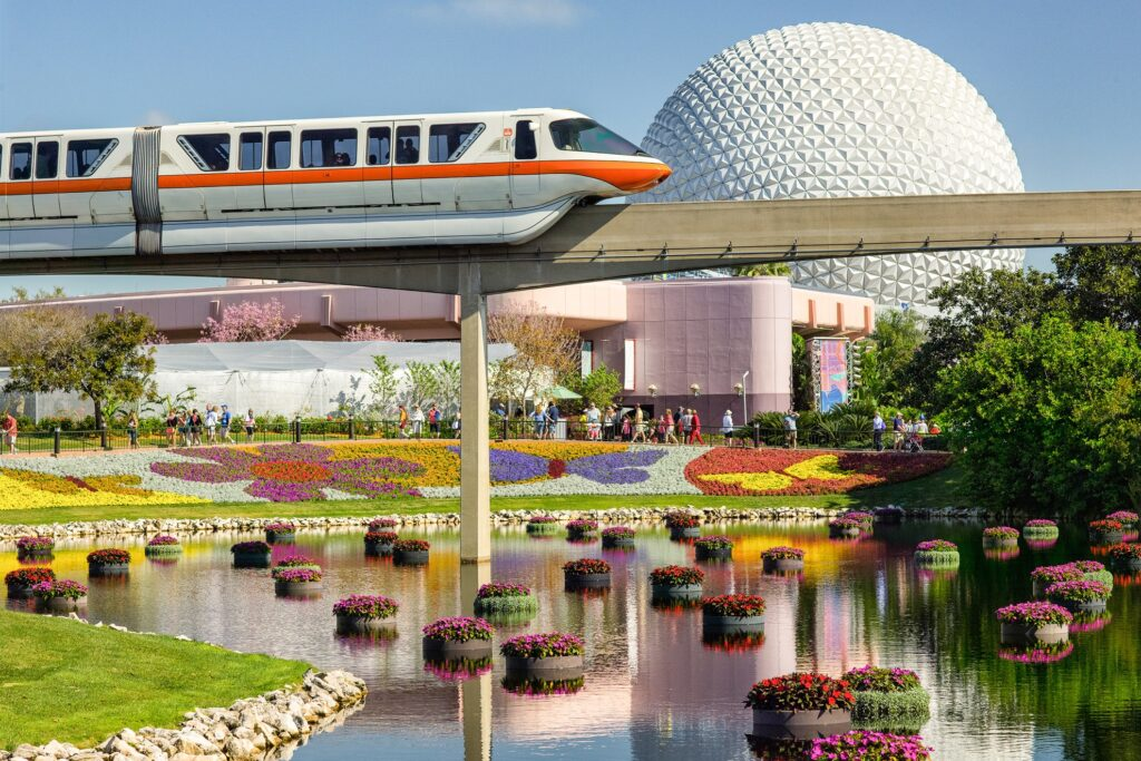 The monorail outside of Epcot.