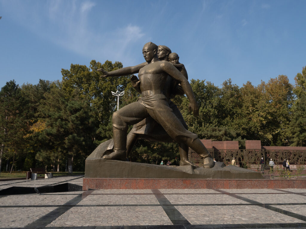 The Monument of Courage earthquake memorial in Tashkent.