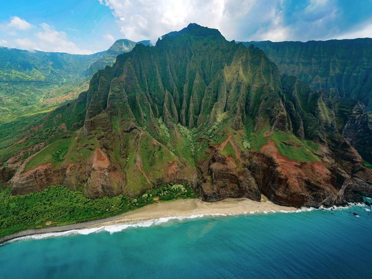 The moss-covered Kalepa Ridge on Kauai Island, Hawaii.