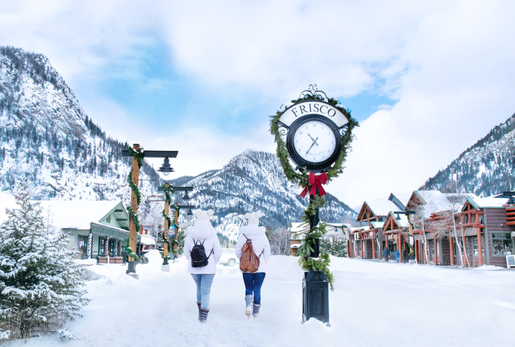 The mountain town of Frisco, Colorado, during the holidays.