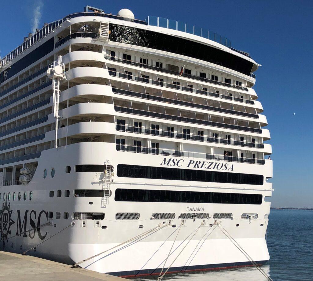 The MSC Preziosa cruise ship.