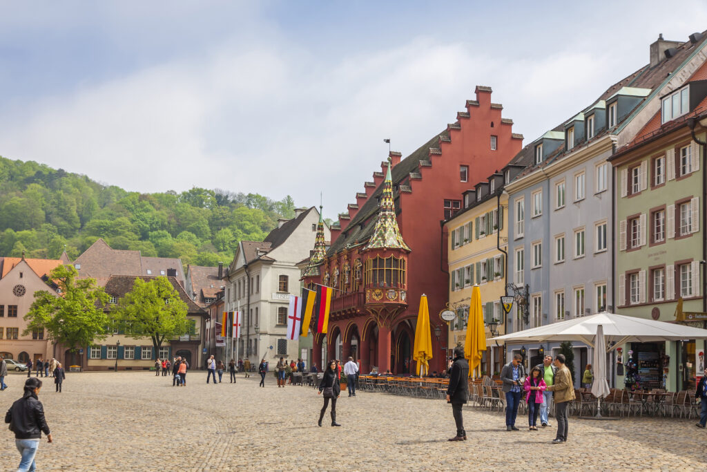 The Munsterplatz square in downtown Freiburg.