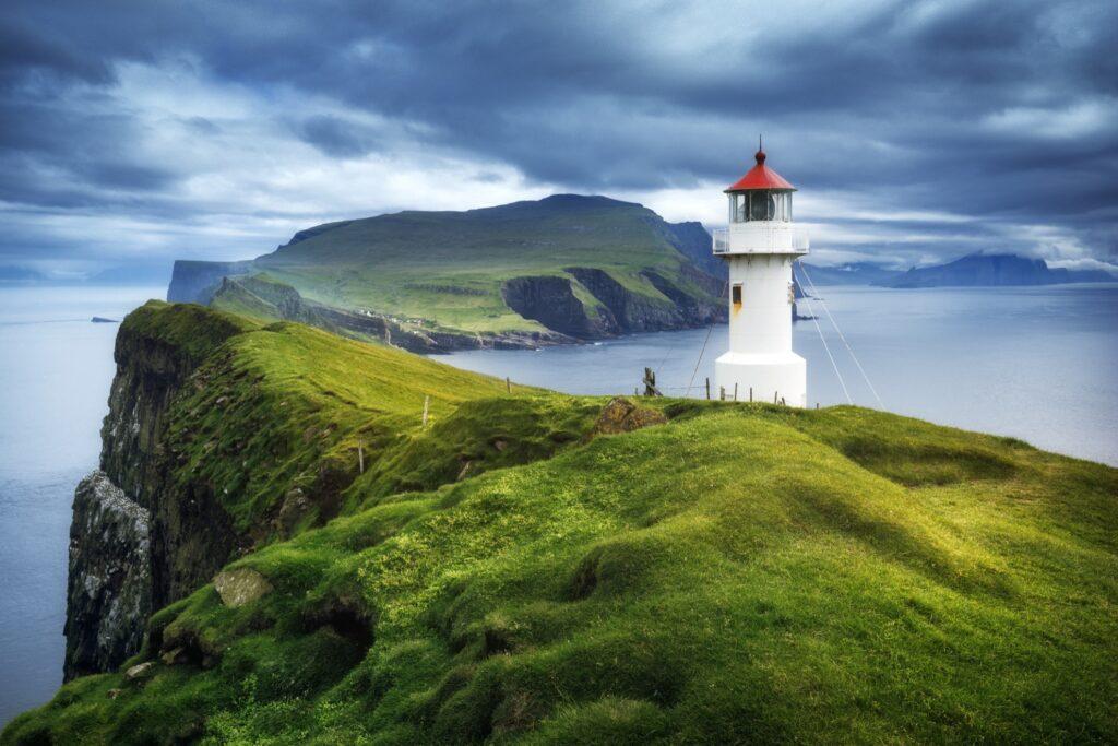 The Mykines Lighthouse in the Faroe Islands