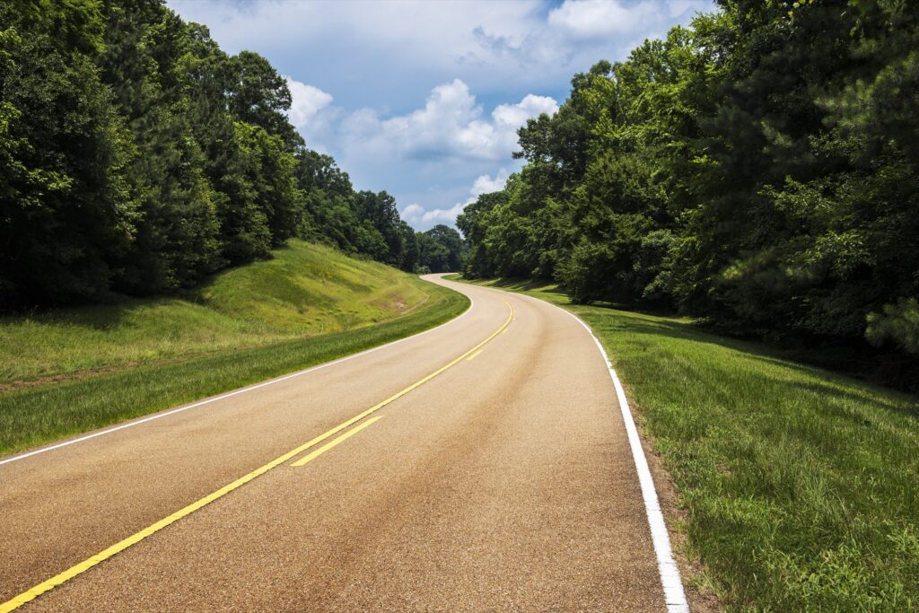 The Natchez Trace Parkway in Mississippi.
