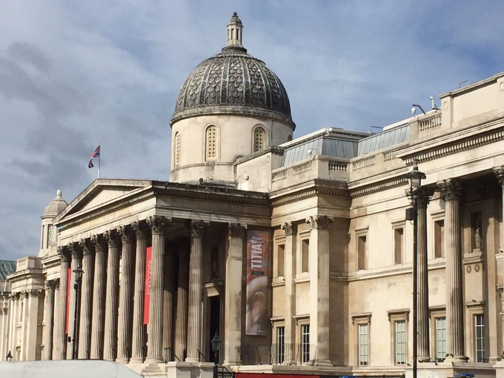 The National Gallery at Trafalgar Square in London.