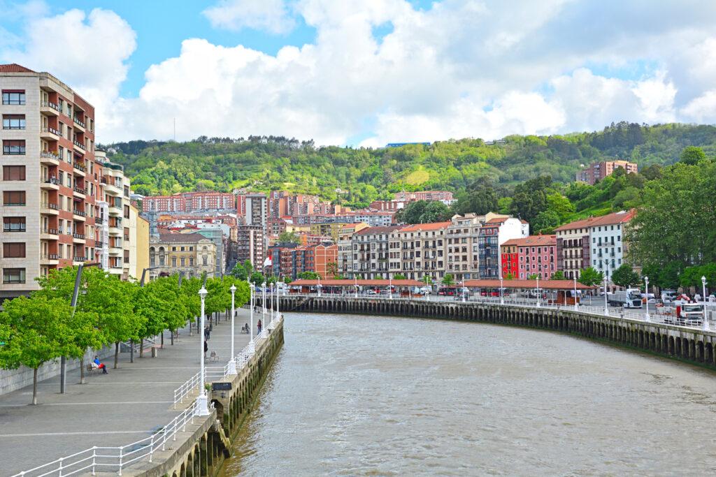 The Nervion River in Bilbao, Spain.