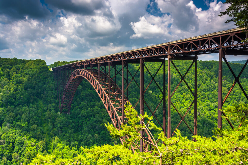 The New River Gorge Bridge, as seen from Canyon Rim Overlook Boardwalk.