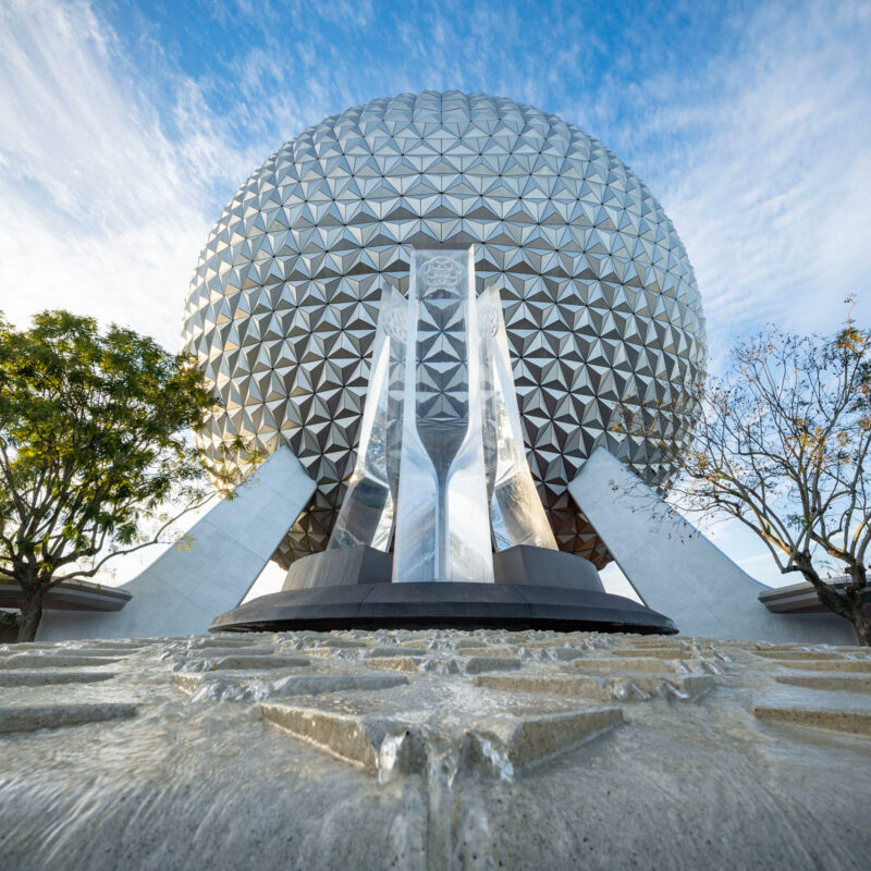 The newly renovated Epcot entrance.