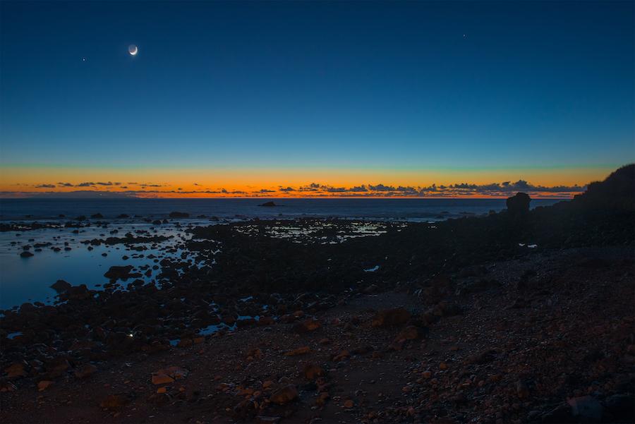 The night sky at sunset from La Gomera.