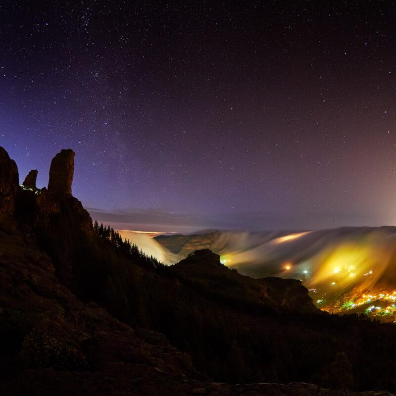 The night sky over Gran Canaria island in Spain.