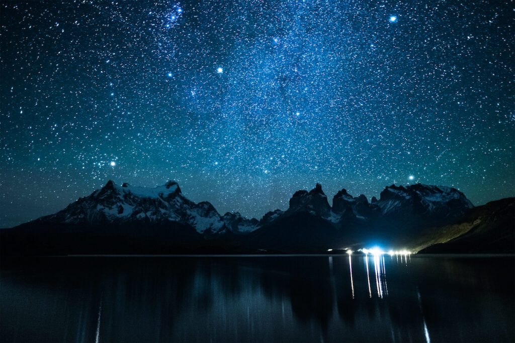 The night sky over Torres del Paine National Park in Patagonia.