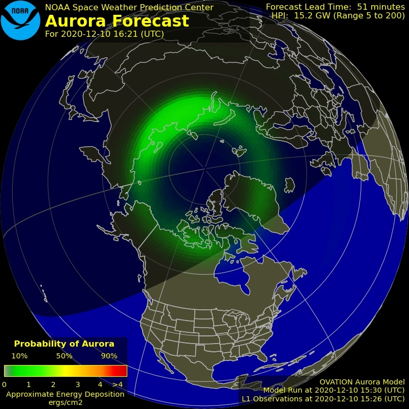 The NOAA Aurora Forecast for December 10, 2020.