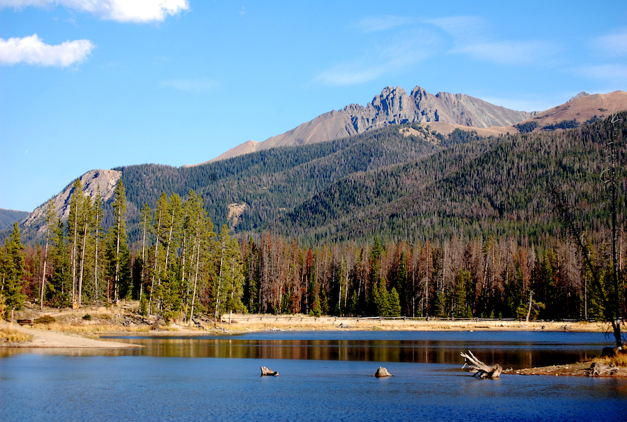 The Nokhu Crags from the Ranger Lakes Nature Trail.
