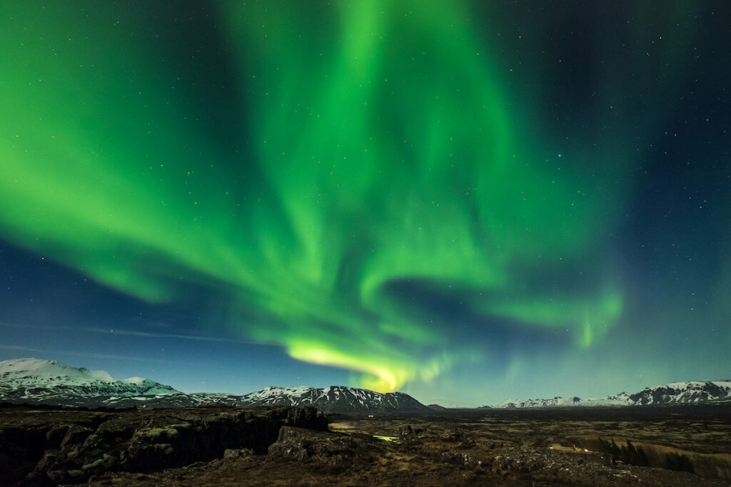 The Northern Lights in Thingvellir National Park, Iceland.
