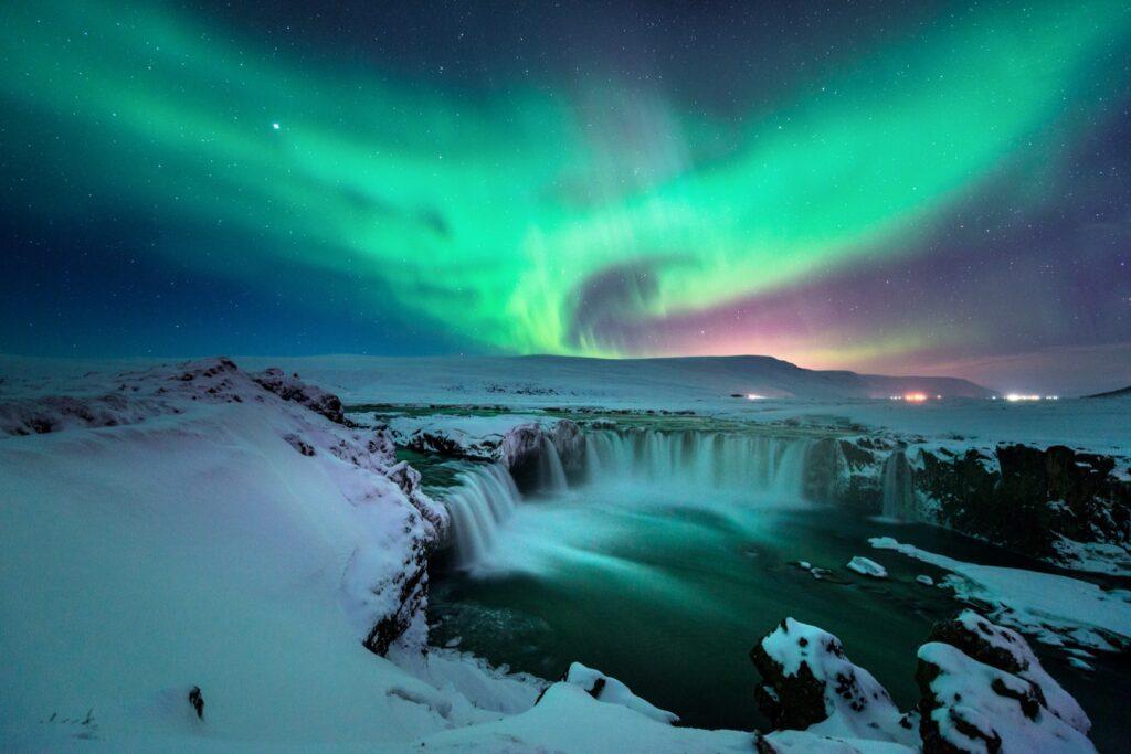 The Northern Lights over Godafoss.