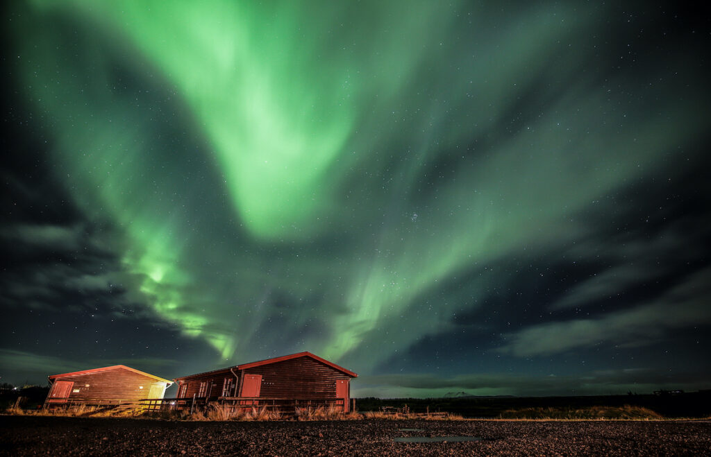 The Northern Lights over Hella, Iceland.