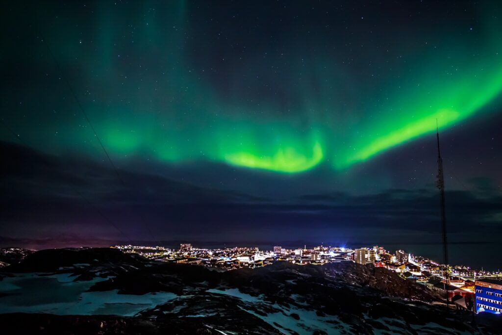 The Northern Lights over Nuuk, Greenland.