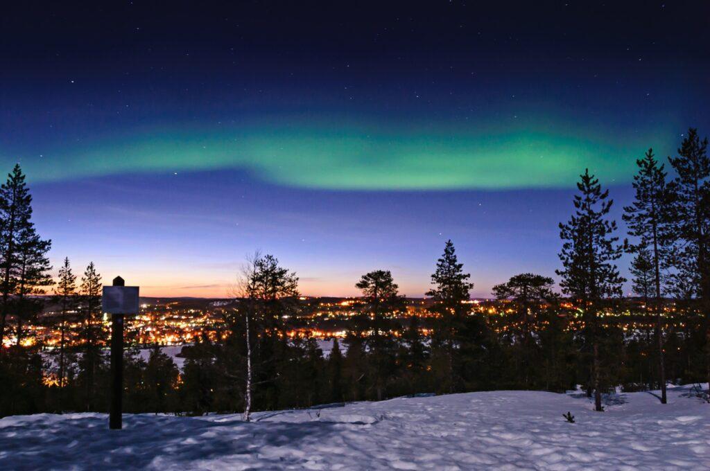 The Northern Lights over Rovaniemi, Finland.