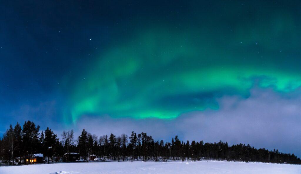The Northern Lights over Swedish Lapland.