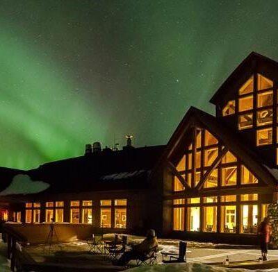 The Northern Lights over Talkeetna Alaskan Lodge.