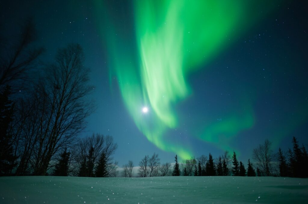 The Northern Lights over the Russian Arctic.