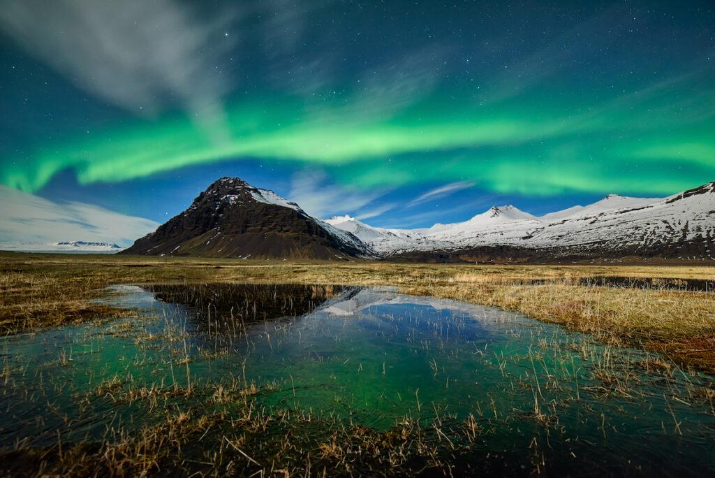 The Northern Lights over the Jokulsarlon lagoon in Iceland.