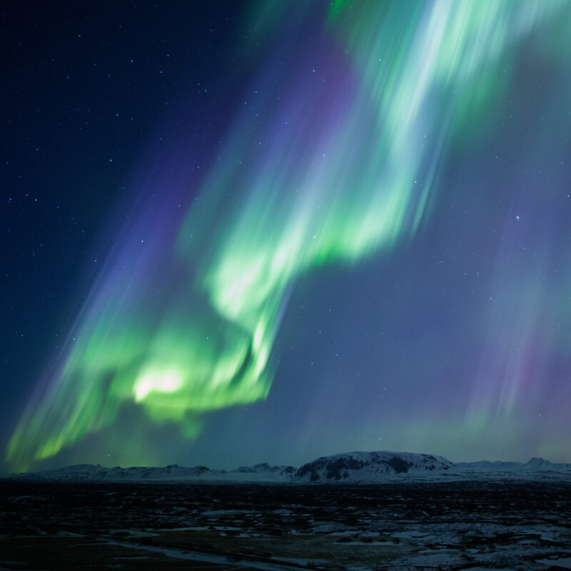 The Northern Lights over Thingvellir National Park in Iceland.