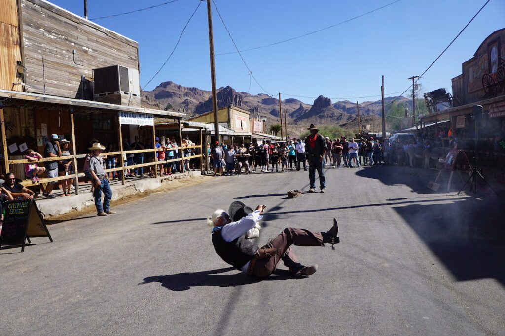 The Oatman Ghost Rider Gunfighters putting on a show.