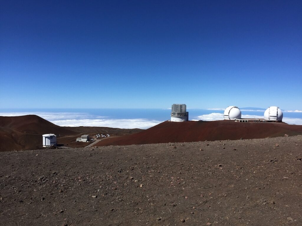 The observatories on the summit of Mauna Kea in Hawaii.