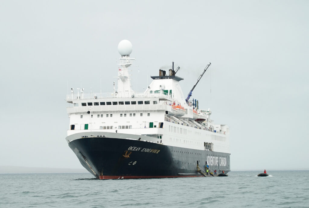 The Ocean Endeavor ship.