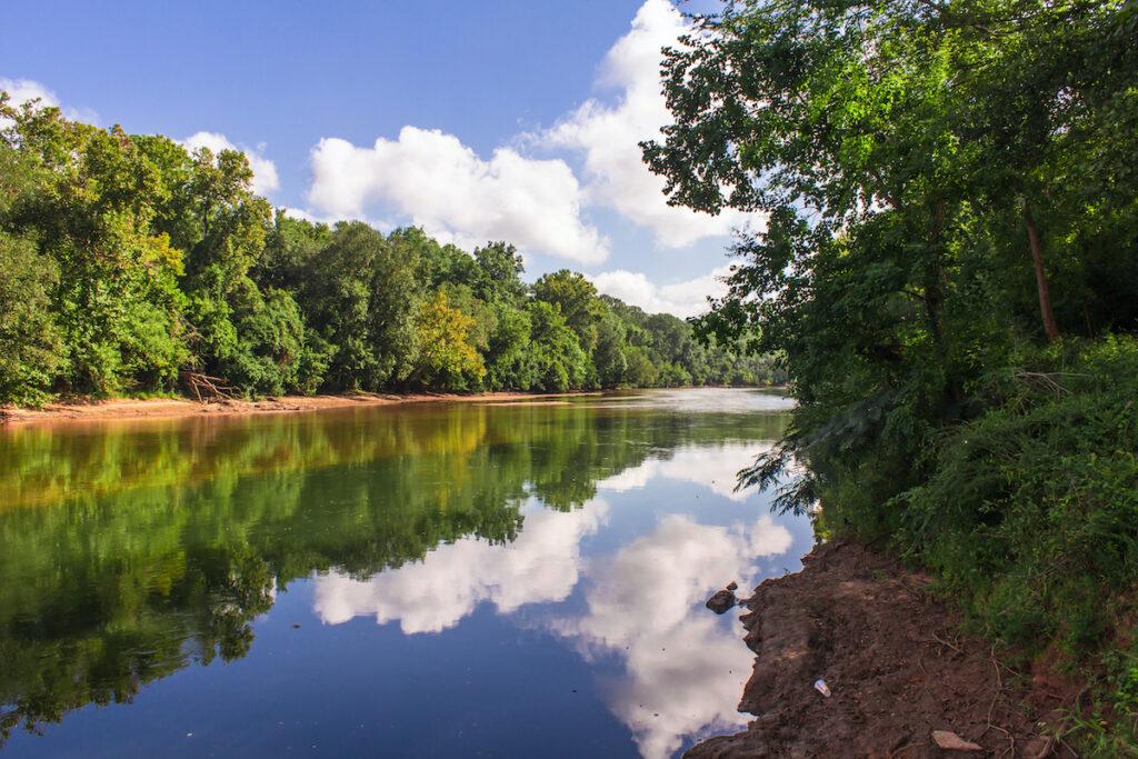 The Ocmulgee River in Macon, Georgia.