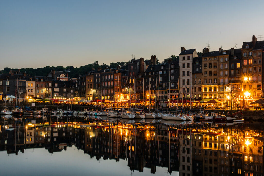 The Old Harbour of Honfleur at night.