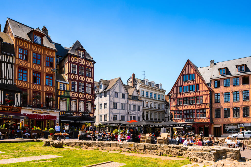 The old market square of Rouen, France.