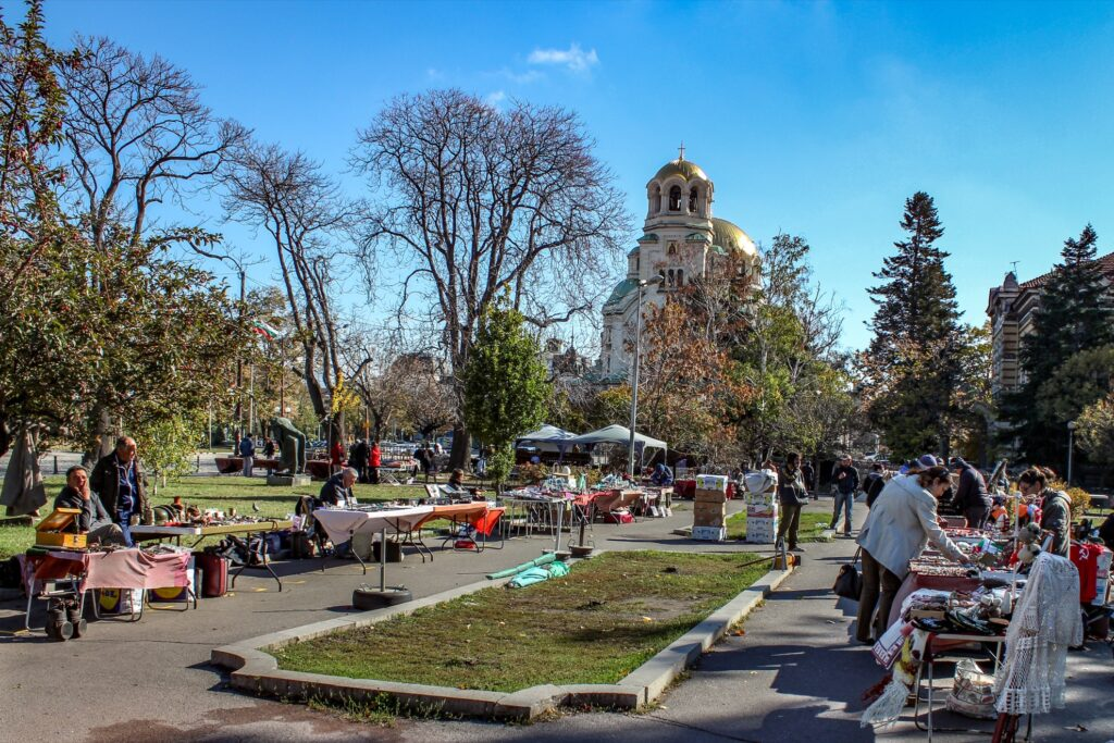 The open-air antique market in Sofia.
