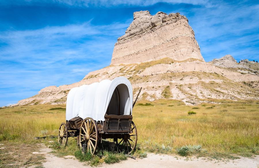 The Oregon Trail at Scotts Bluff National Monument in Nebraska.